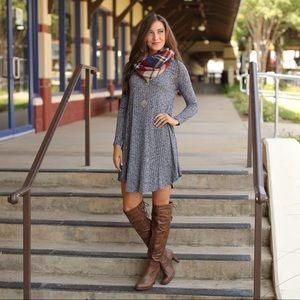 ✨RESTOCKED✨Navy long sleeve ribbed knit dress